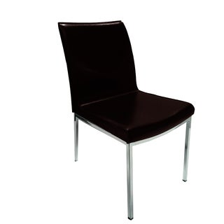 Opel Brown Leather and chrome Dining Chair (Set of 2)