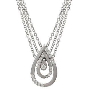 Luxiro Rhodium Finish Pave Crystals Teardrop Pendant Necklace