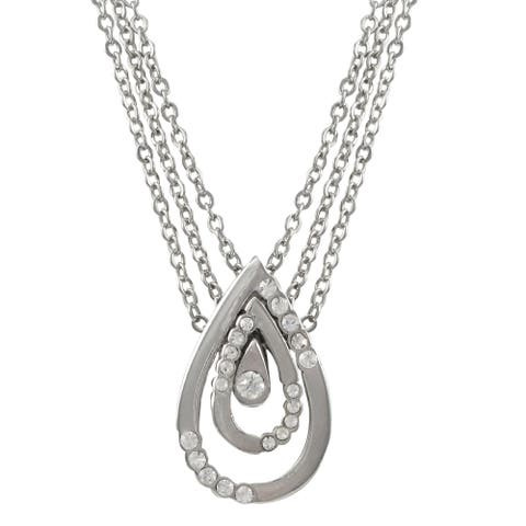 Luxiro Rhodium Finish Pave Crystals Teardrop Pendant Necklace - Silver