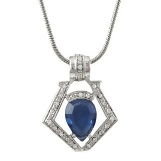 Luxiro Rhodium Finish Pave Crystals Crest Pendant Necklace