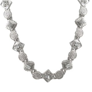 Luxiro Rhodium Finish Pave Crystals Geometric Choker Necklace