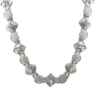Luxiro Rhodium Finish Pave Crystals Geometric Choker Necklace - Silver