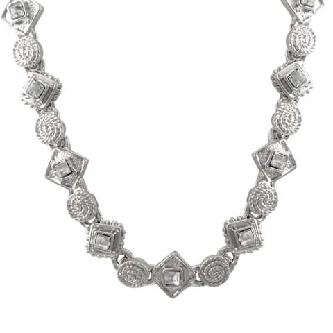 Luxiro Rhodium Finish Pave Crystals Geometric Choker Necklace - Silver
