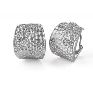 Collette Z Sterling Silver Cubic Zirconia Hammered Hoop Earrings