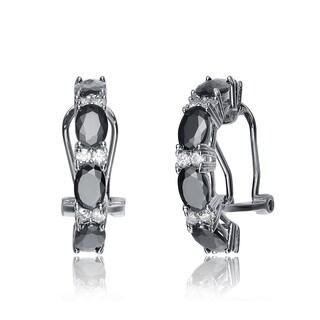 Collette Z Sterling Silver Black Cubic Zirconia Petite Hoop Earrings