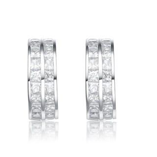 Collette Z Sterling Silver Cubic Zirconia Double Hoop Earrings