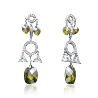 Collette Z Sterling Silver Cubic Yellow Cubic Zirconia Chandelier Earrings