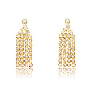 Collette Z Sterling Silver Cubic Zirconia Dangling Earrings With Beaded Rows