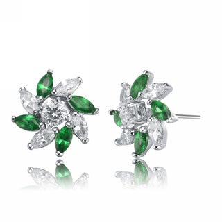 Collette Z Sterling Silver Green Cubic Zirconia Stud Earrings With Pinwheel Design