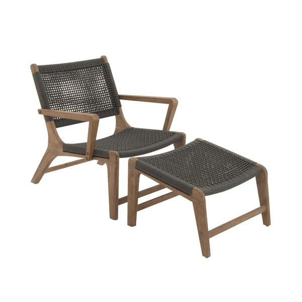 Comfortable Wood Rope Outdoor Chair With Footrest Free