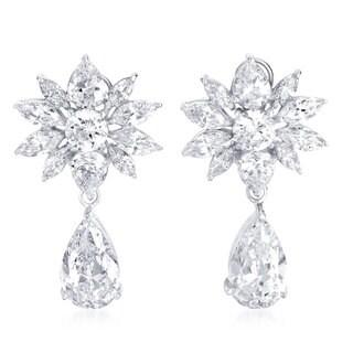 Collette Z Sterling Silver Cubic Zirconia Star Burst Drop Earrings