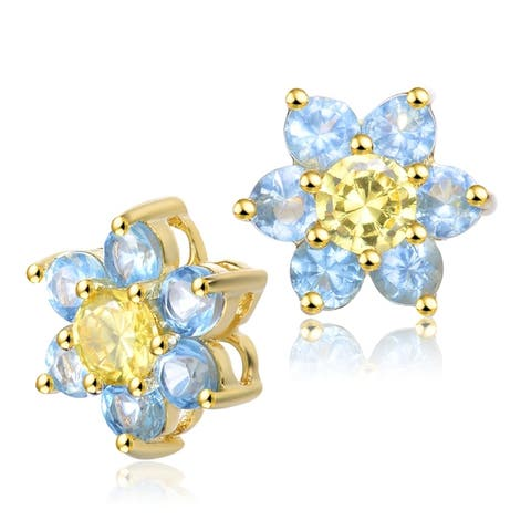 Collette Z Sterling Silver with Rhodium Plated Topaz Blue with Clear Round Cubic Zirconia Halo Floral Stud Earrings