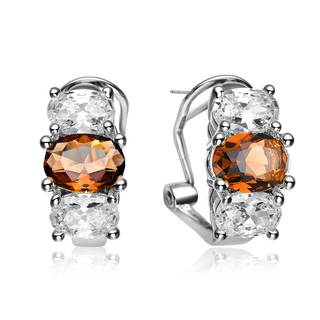 Collette Z Rhodium Overlay Clear and Bronze Cubic Zirconia Earrings