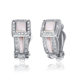 Collette Z Sterling Silver Clear Cubic Zirconia and Pale Pink Earrings