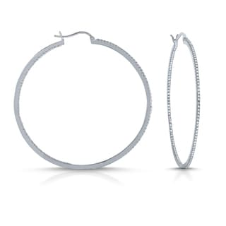 Collette Z Diamond brass Hoop Earrings with Stone Accents