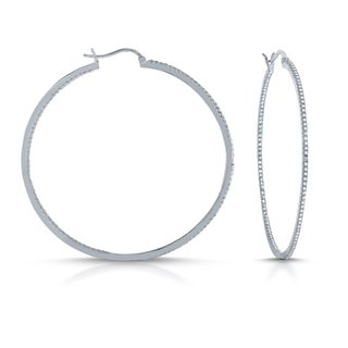 Collette Z Silver Overlay Cubic Zirconia Accent Hoop Earrings