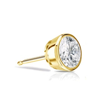 Auriya 14k Gold 1/4ct TDW Bezel Push-Back Round Cut Diamond Single Stud Earring (H-I, SI1-SI2)