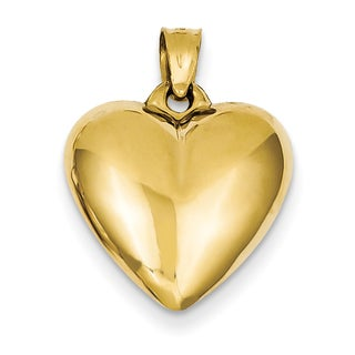 Versil 14 Karat Yellow Gold Chic Puffed Heart Pendant