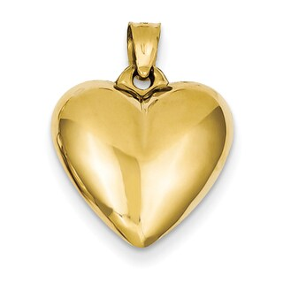 Versil 14 Karat Yellow Gold Chic Puffed Heart Pendant