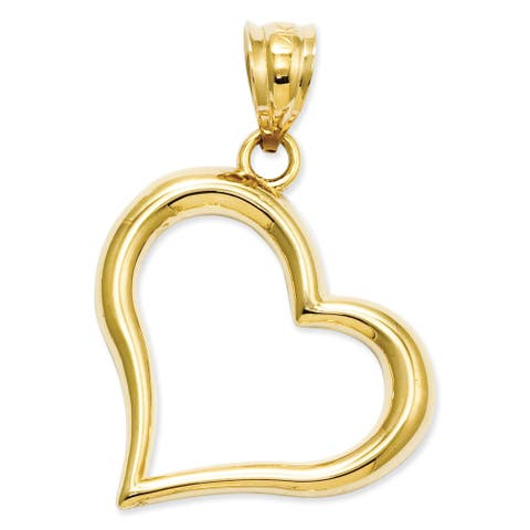 14 Karat Yellow Gold Polished Open Heart Pendant by Versil