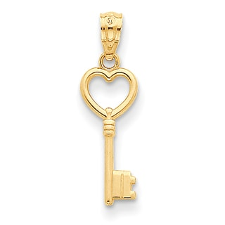 Versil 14 Karat Yellow Gold Heart Key Polished Pendant