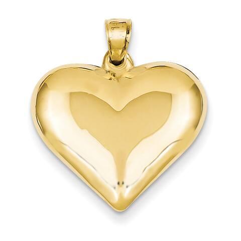 14 Karat Yellow Gold Puffed Heart Pendant by Versil