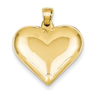 Versil 14 Karat Yellow Gold Puffed Heart Pendant