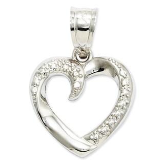 Versil 14k White Gold Swirled Heart Pendant