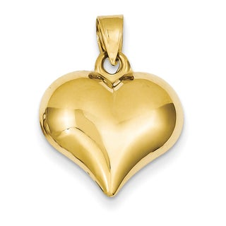 Versil 14k Yellow Gold Puffed Fashionable Heart Pendant
