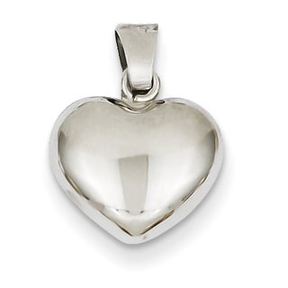 Versil 14k White Gold Puffed Chic Heart Pendant
