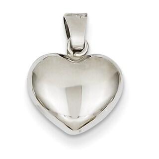 Versil 14 Karat White Gold Puffed Chic Heart Pendant