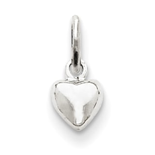 Versil 14k White Gold Solid Polished Plain Puffed Heart Charm