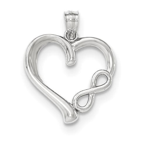 14k White Gold Polished Small Infinity Heart Pendant by Versil