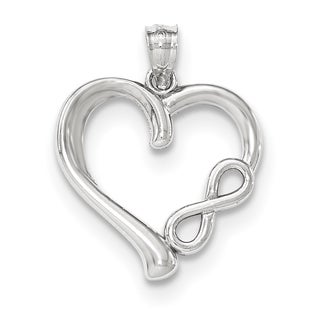 Versil 14k White Gold Polished Small Infinity Heart Pendant