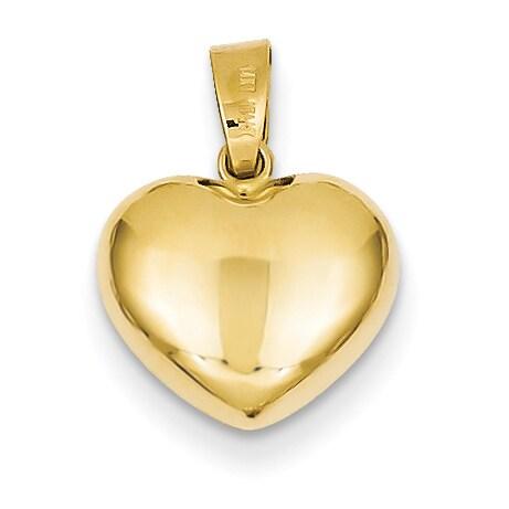 Versil 14 Karat Yellow Gold Romantic Puffed Heart Charm