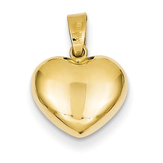 Versil 14k Yellow Gold Romantic Puffed Heart Charm