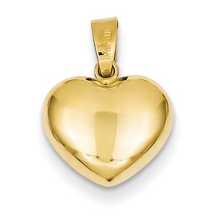 Versil 14 Karat Yellow Gold Romantic Puffed Heart Charm