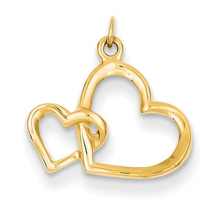 Versil 14k Yellow Gold Double Heart Charm