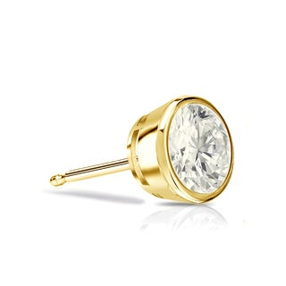 Auriya 14k Gold 1/4ct TDW Bezel Push-Back Round Cut Diamond Single Stud Earring (J-K, I2-I3)