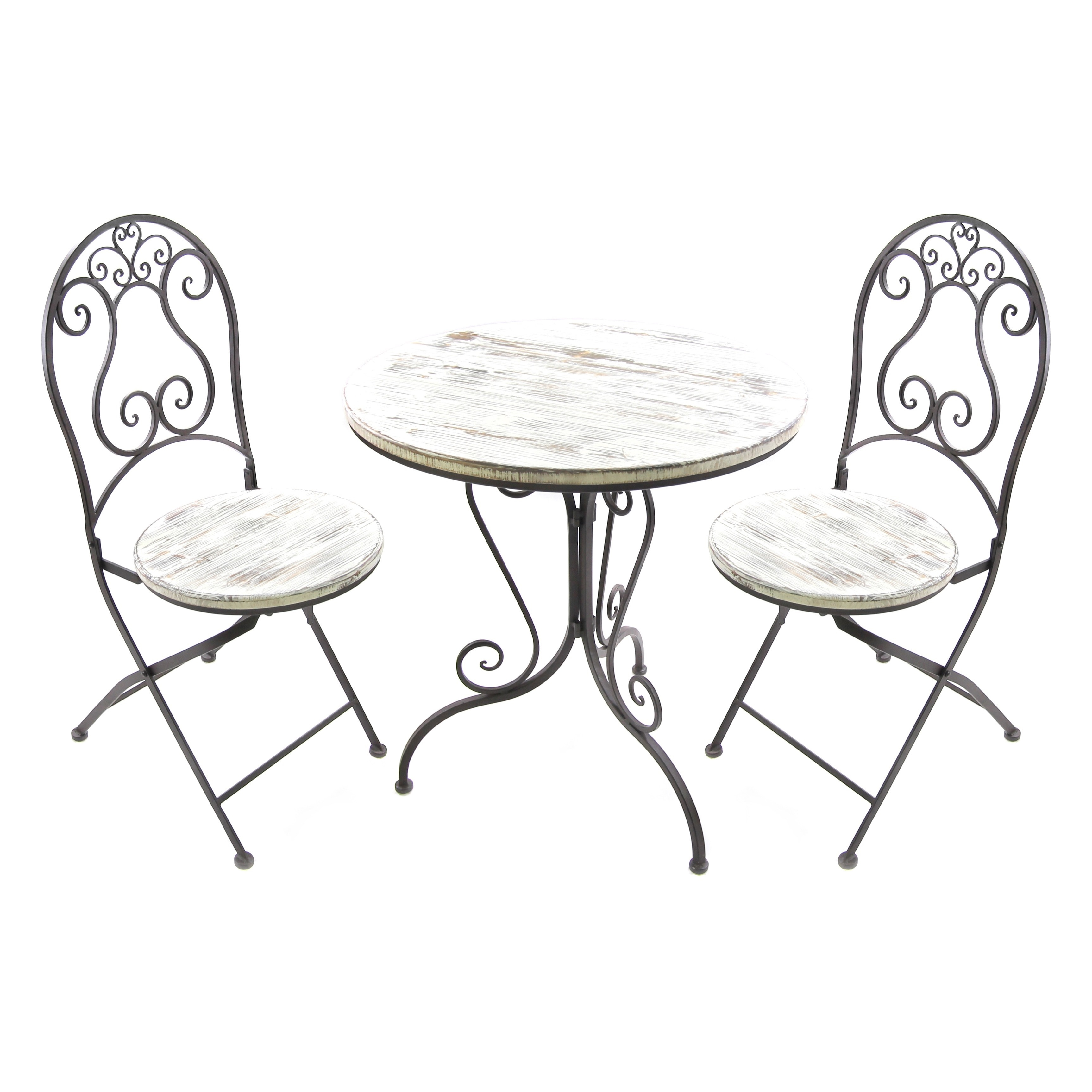 Jordan 3-piece Distressed Bistro Set (White Bistro Set), ...