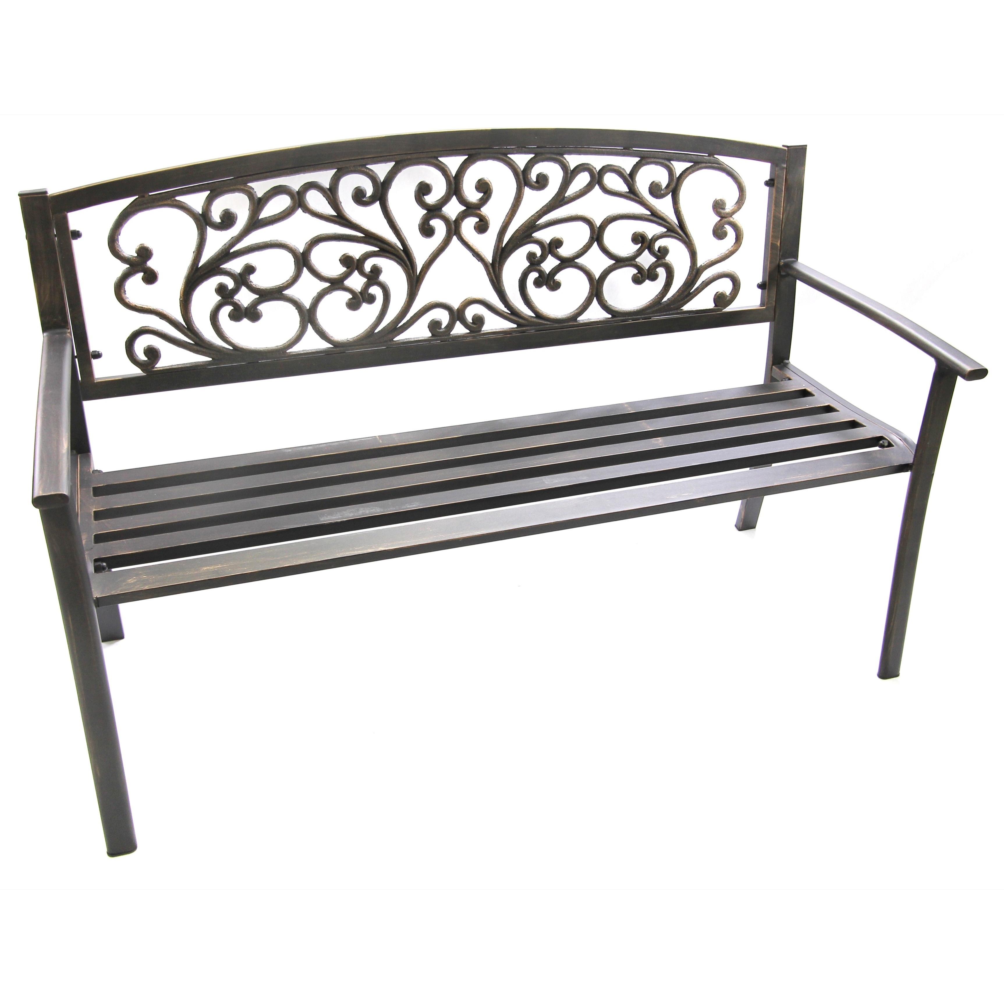 Jordan Scroll Bench (Black Scroll Bench), Patio Furniture...