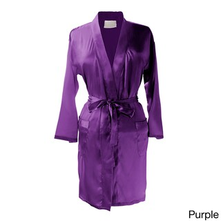 Layla Luxury Satin Kimono Robe (Option: Purple)