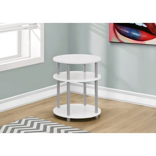 "Accent Table-19""Diameter/White With Silver Accent"