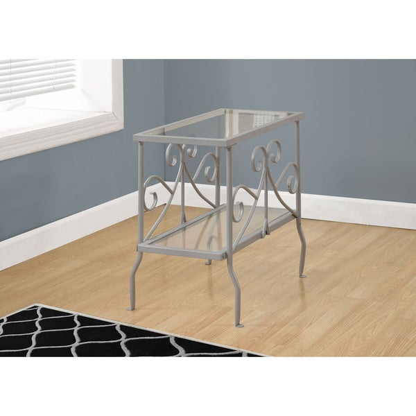 Shop Accent Table-Silver Metal With Tempered Glass