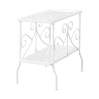 Accent Table-White Metal With Tempered Glass