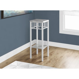 Accent Table-White Marble/White Metal