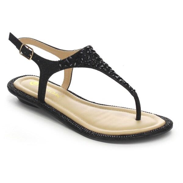 Shop Beston Cc82 Women S Glitter Flat Sandals Free