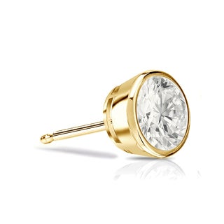 Auriya 14k Gold 1/3ct TDW Bezel Push-Back Round Cut Diamond Single Stud Earring (I-J, I1-I2)