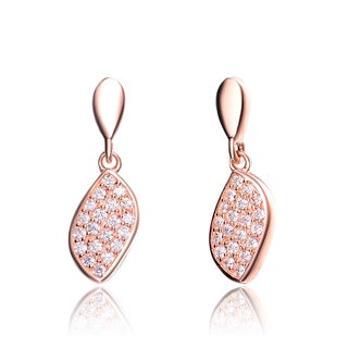 Collette Z Rose Gold Overlay Cubic Zirconia Pave Earrings