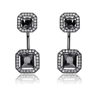Collette Z Sterling Silver Clear and Black Cubic Zirconia Ear Jacket Earrings